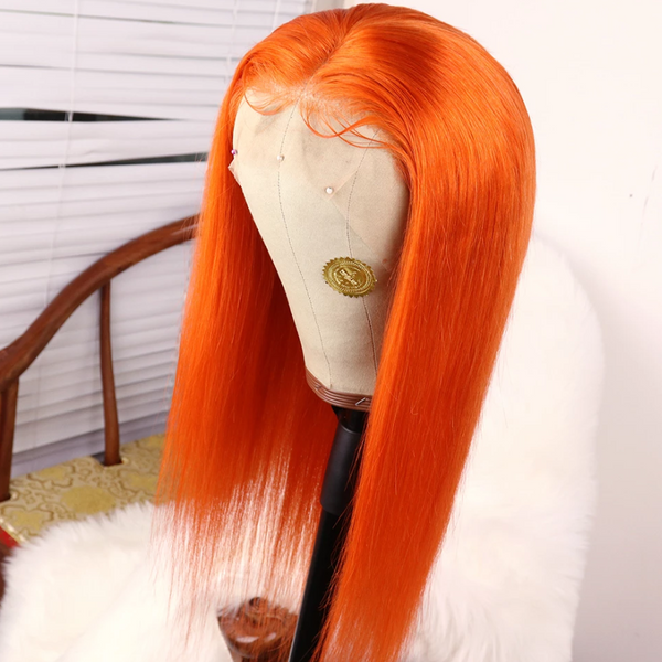 Fashion Peruvian Hair Lace Front Fall Orange Color Styled Wig