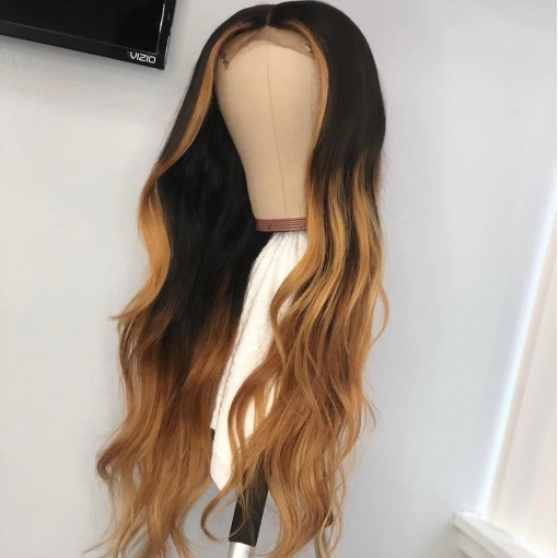 Brazilian Hair Lace Front Body Wave Black With Blond Wigs