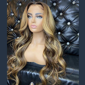 Brazilian Hair Blond Ombre Color HD Transparent Lace Front Wig