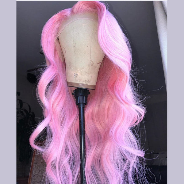 Peruvian Hair Lace Front Body Wave Light Pink Style Wig
