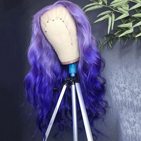 Peruvian Hair Natural Wave Purple Ombre Color Lace Front Wigs