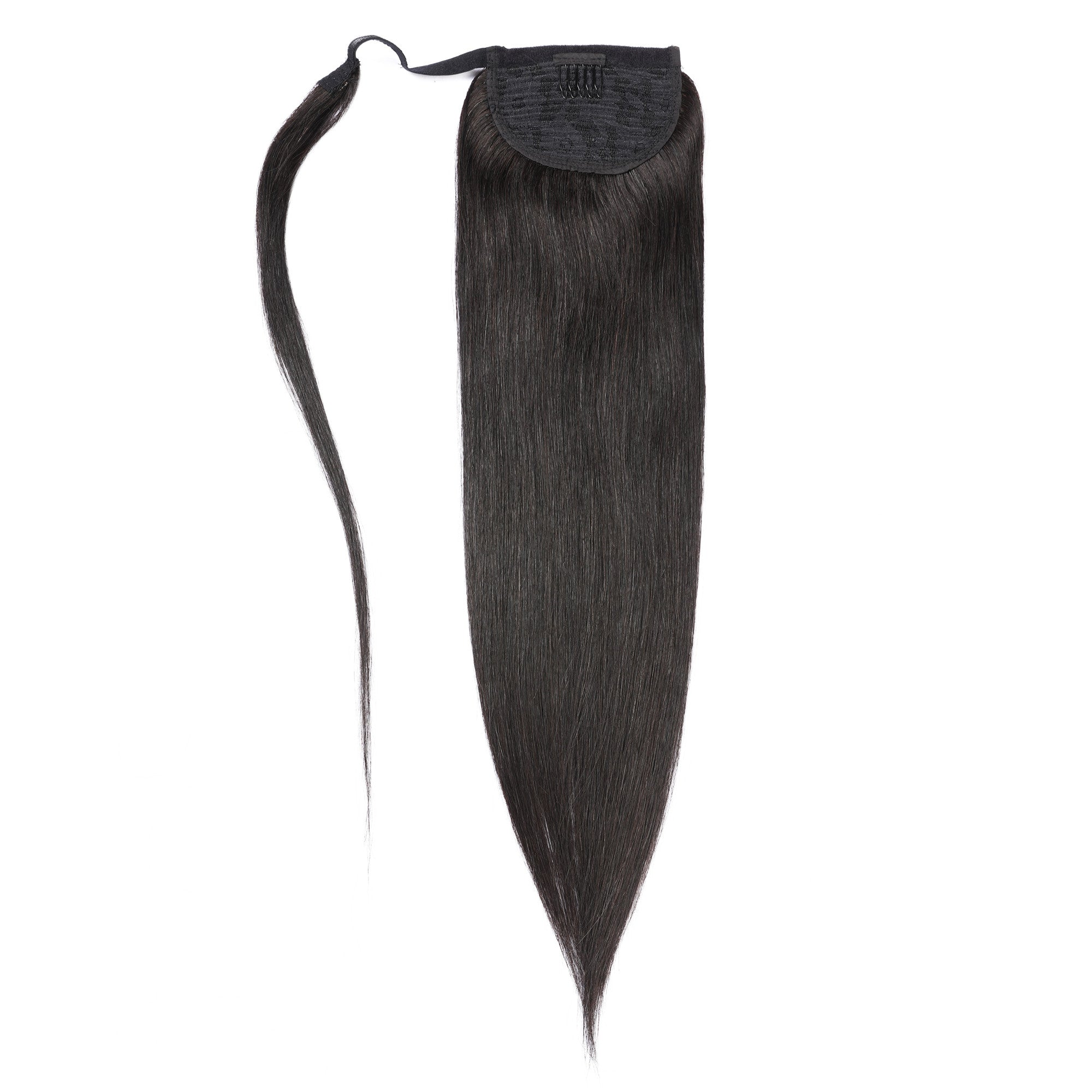 Straight Ponytail Human Hair Clip Extensions Wrap Around