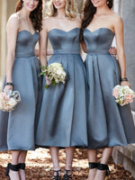Sleeveless A-Line Sweetheart Tea-Length Bridesmaid Dress