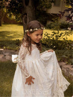Lace Long Sleeves Jewel Neck Flower Girl Dress With Bowknot Sashes