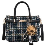Letter Korean Rivet Wool Blends Square Tote Bags
