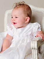 Long Baptism Christening Gown for Girls with Bonnet