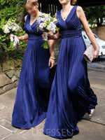Sleeveless Ruched Floor-Length A-Line Bridesmaid Dress