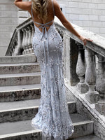 V-Neck Lace Trumpet/Mermaid Floor-Length Prom Dress