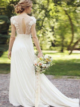 Lace Floor-Length A-Line Court Wedding Dress