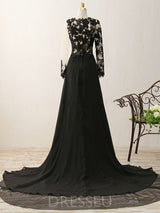Split-Front Floor-Length Court Long Sleeves Evening Dress