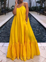 Sleeveless Floor-Length Expansion Plain Dress