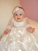 Beading Bowknot Floor-Length Lace Christening Gown