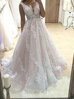 Floor-Length A-Line Sleeveless V-Neck Church Wedding Dress