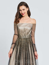 Long Sleeves A-Line Off-The-Shoulder Beading Prom Dress