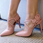 Stiletto Heel Buckle Pointed Toe Casual Thread Sandals