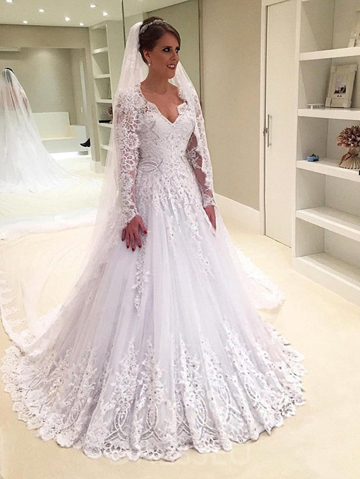 A-Line V-Neck Lace Long Sleeves Vintage Wedding Dress