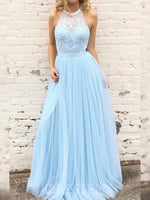Floor-Length Halter A-Line Sleeveless Wedding Party Dress