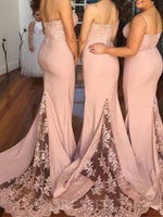 Trumpet/Mermaid Spaghetti Straps Sweep/Brush Lace Long Bridesmaid Dress