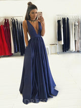 A-Line Sleeveless Floor-Length Sweep/Brush Evening Dress