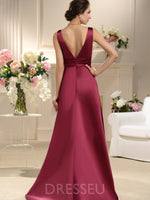 Floor-Length Sleeveless A-Line Pleats Bridesmaid Dress