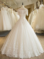 Ball Gown Off-The-Shoulder Short Sleeves Floor-Length Lace-Up Tulle Wedding Dress