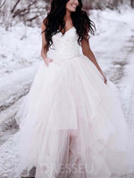 Straps Lace Sleeveless Ball Gown Hall Wedding Dress