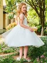 Backless Scoop Beading Tea-Length Flower Girl Dress