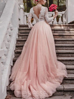 A-Line V-Neck Tulle Appliques Long Sleeves Wedding Dress Pink Bride Gowns