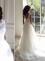 A-Line Scoop Floor-Length Sweep/Brush Train Tulle Wedding Dress