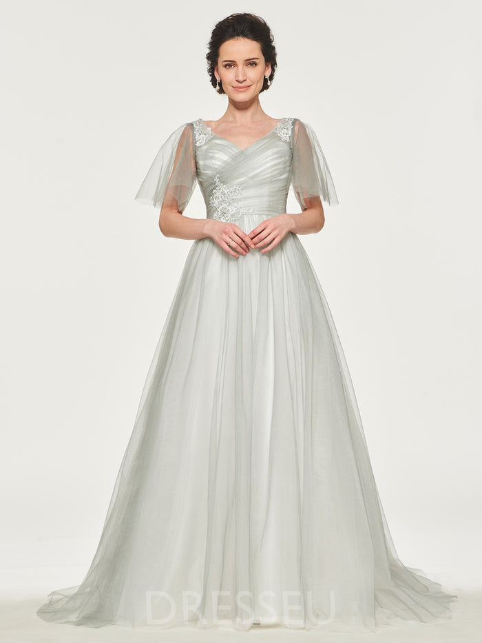 V-Neck Appliques Short Sleeves Floor-Length Mother of the Bride Dress