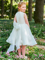 Organza Satin Scoop Bowknot Knee-Length Flower Girl Dress