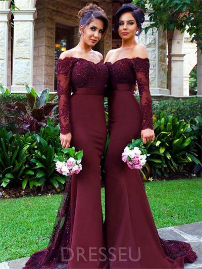 Off-The-Shoulder Trumpet/Mermaid Long Sleeves Beading Bridesmaid Dress