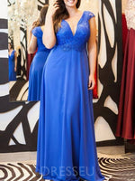 A-Line V-Neck Floor-Length Appliques Mother of the Bride Dress