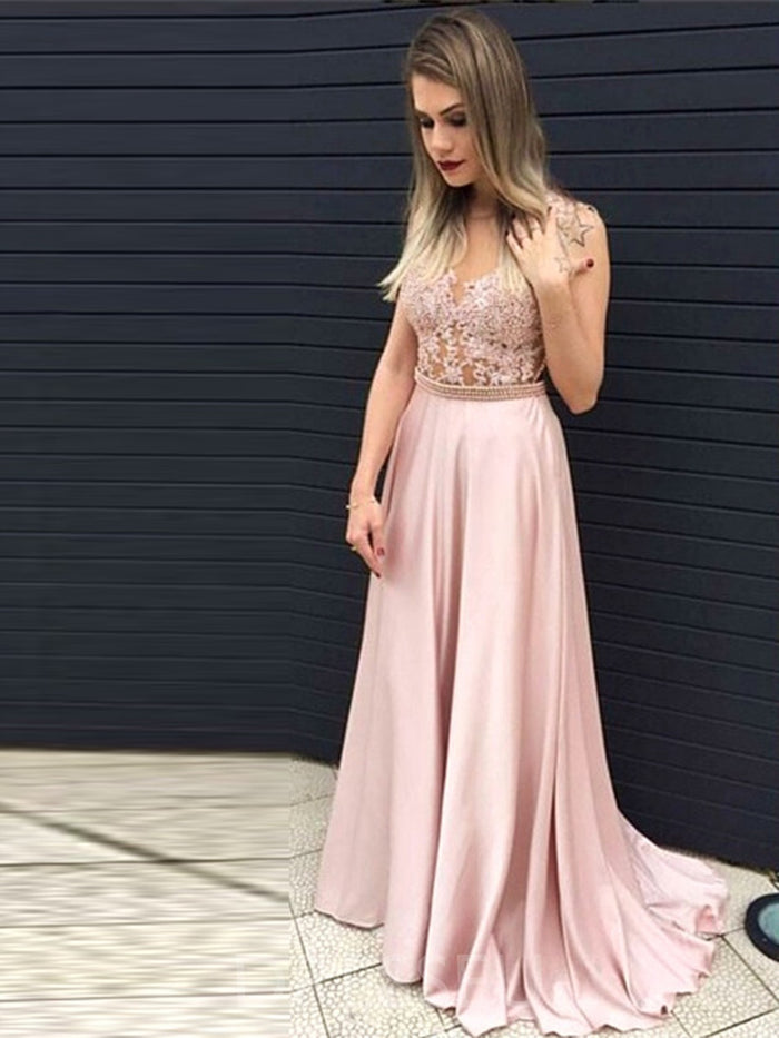 Appliques Sleeveless Court A-Line Prom Dress