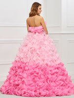 Strapless Sleeveless Ball Gown Cascading Ruffles Quinceanera Dress