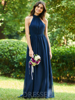 Floor-Length Halter Bowknot Sleeveless 30D Chiffon Bridesmaid Dress