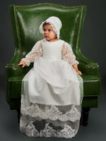 Baby Girls Lace Edge Tulle Christening Gown with Bonnet