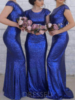 Scoop Sequins Floor-Length Cap Sleeves Bridesmaid Dress