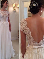 Cap Sleeves Scalloped-Edge A-Line Floor-Length Lace Beach Wedding Dress