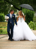 Ball Gown Sweetheart Beading Floor-Length Sleeveless Tulle Wedding Dress