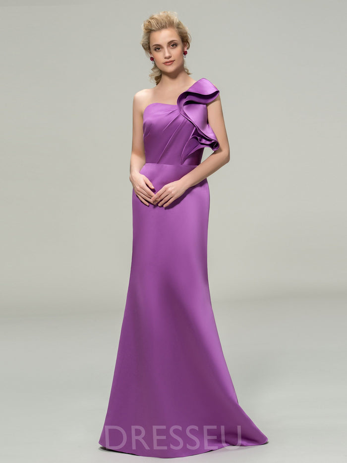 Floor-Length Sleeveless Sheath/Column One Shoulder Bridesmaid Dress