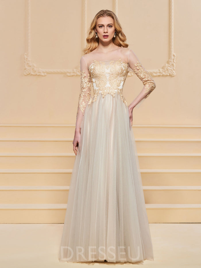 Scoop Appliques Long Sleeves Floor-Length Evening Dress
