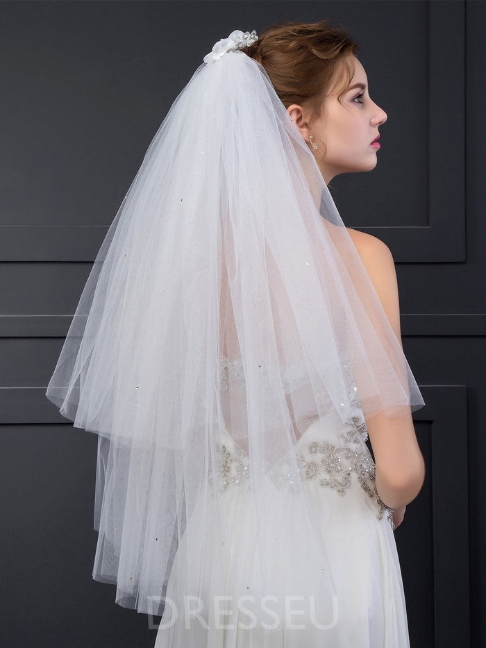 Two-Layer Wedding Veils With Comb