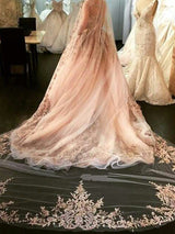 One-Layer Appliques Cathedral Train Wedding Veils