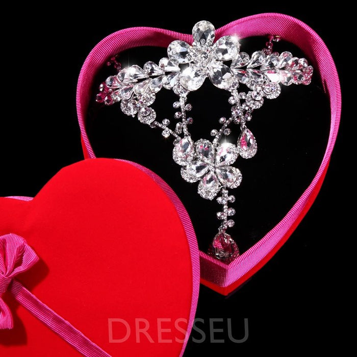 Silver Alloy with Rhinestone Wedding Jewelry Sets