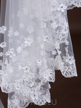 One-Layer Tule Appliques Lace Wedding Veils