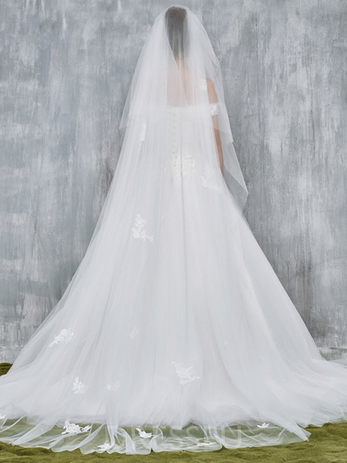 Two-Layer White Tulle Wedding Veils