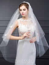 Two-Layer Tulle Wedding Veils Without Comb