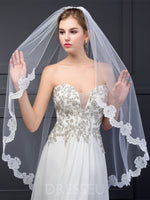 Dresseu One-Layer Mesh Wedding Veils With Comb