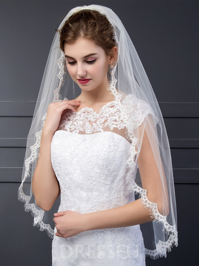One-Layer Tulle Short Wedding Veils